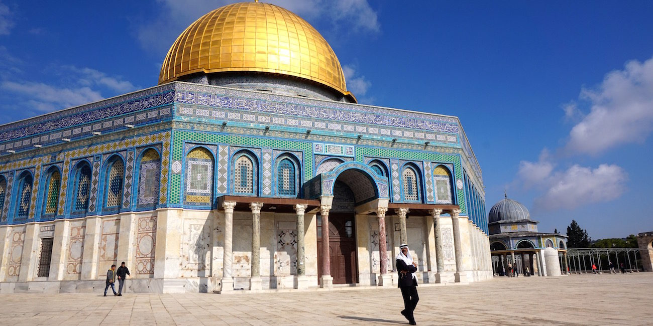 Dome Of Rock Close Up With Man